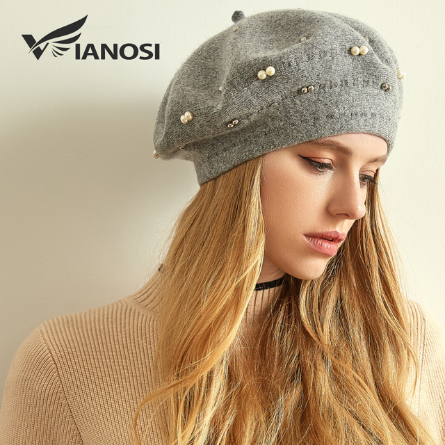 VIANOSI Winter Beret Women Hat Wool Knitted Solid Color Berets Fashion  Female Beanies Warm Cap Brand 7e6d9e4fb789