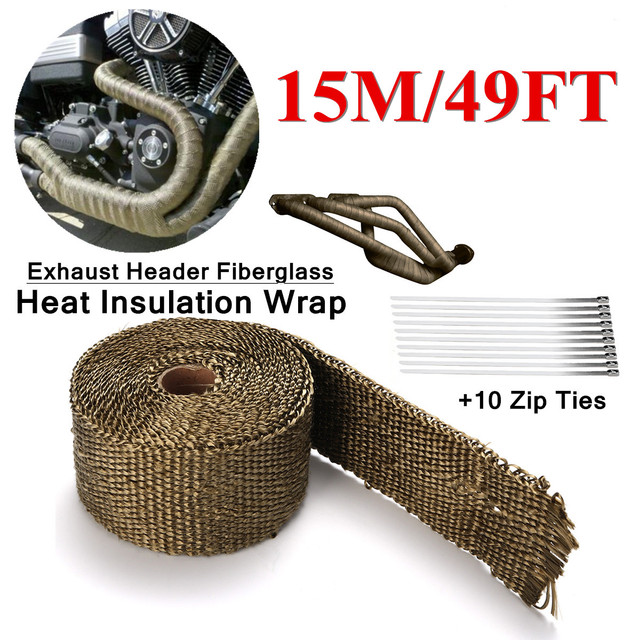 US $12 85 21% OFF Length 5m/10m/15m Exhaust Header Fiberglass Heat  Insulation Wrap Thickness 1 5mm Width 50mm With 10 Stainless Steel Zip Ties  -in