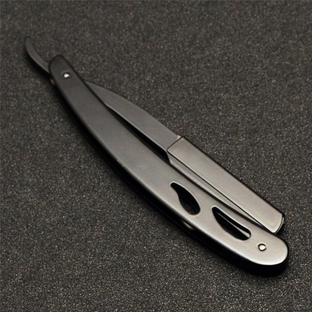 Stainless Steel Straight Edge Razors Folding Straight Razor Stainless Steel Black Shaving Razor Barber Shaver Tool 10Pcs Blade