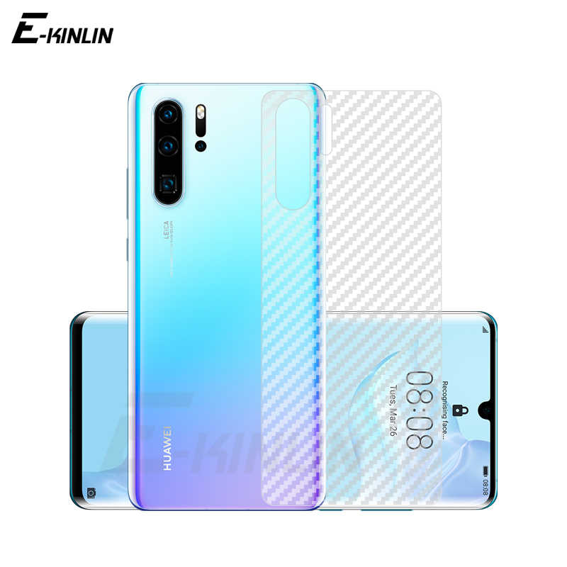 Soft Back Cover Screen Protector For Huawei P30 P20 Pro P10 P9 P8 Lite 2017 Plus mini 3D Carbon Fiber Sticker Protective Film