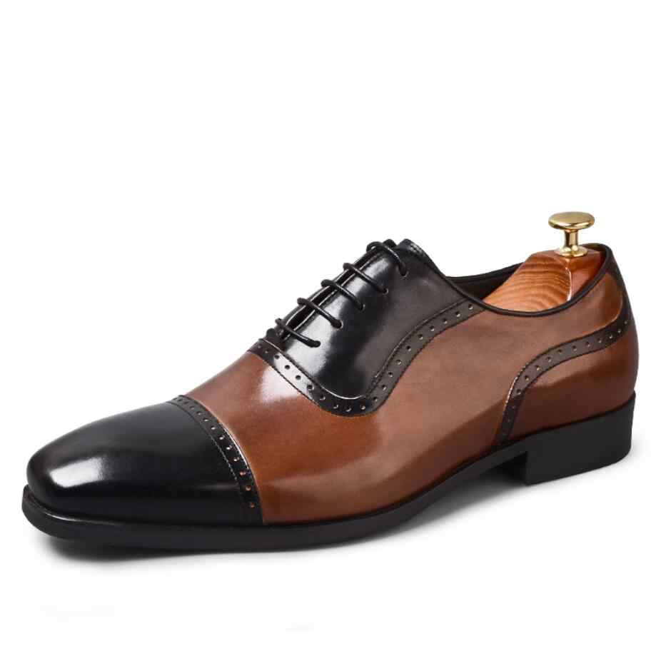 ab991a1ba051 ... Men s Full Grain Leather Dress Shoes Classical Business Oxfords Shoes  Mixed Color Men s Brogue Shoes Moccasin ...