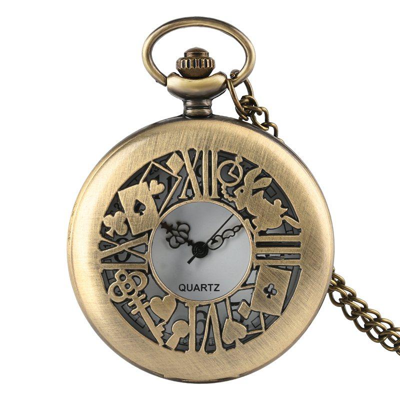 Alice in Wonderland Mad Hatter Rabbit Drink Me Tag Quartz Pocket Watch Dark Brown Glass Necklace Pendant Gifts for Women Girls 2019 2020 2021 2022 (6)