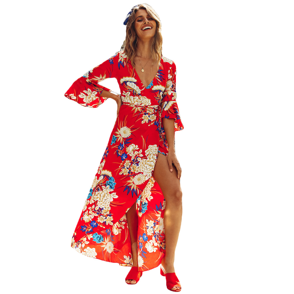 2019 Spring New Flower Printed Dress Sexy Women Floral