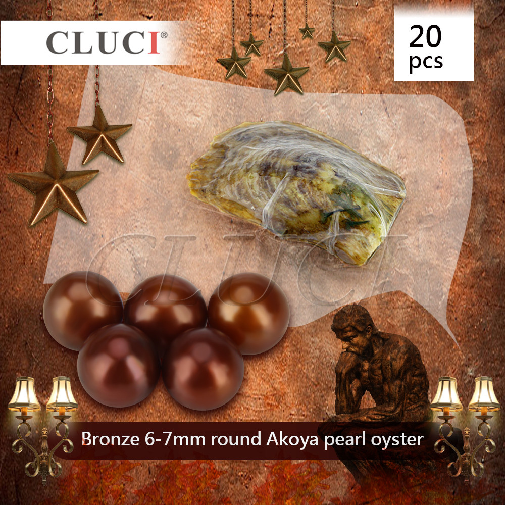 CLUCI 20pcs bronze akoya oysters with pearls, christmas beads for jewelry making, AAA grade, 6-7mm цена