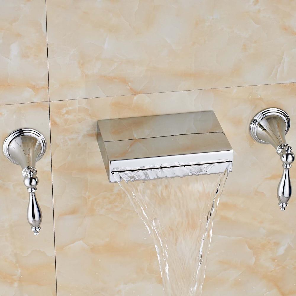 Newly Fashion Wall Mounted Chrome Polish Bathroom Tub Faucet Dual Handles Three Holes Mixer Tap Ceramic Valve Faucet chrome finish dual handles thermostatic valve mixer tap wall mounted shower tap