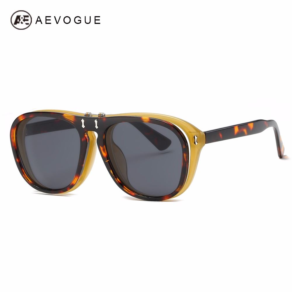 AEVOGUE lunettes de Soleil Femmes En Plastique Flip Up Grand Cadre Rétro Steampunk Clip Sur Lunettes Pour Hommes À Clapet Optiacal Lunettes AE0580