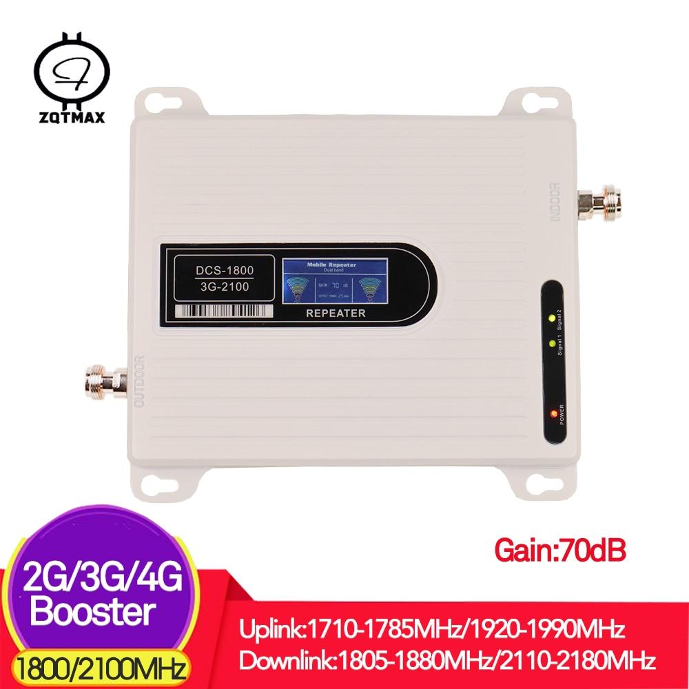 Répéteur ZQTMAX 2G 3G 4G 2100 1800 double bande 2100 MHz 3g répéteur utilisé 1800 MHz 2g 4g répéteur gsm répéteur de signal 70dB