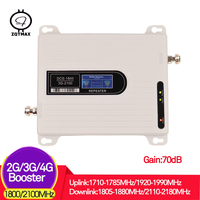 ZQTMAX 2G 3G 4G repeater 2100 1800 Dual band 2100MHz 3g repeater used 1800MHz 2g 4g gsm repeater 70dB signal booster repeater
