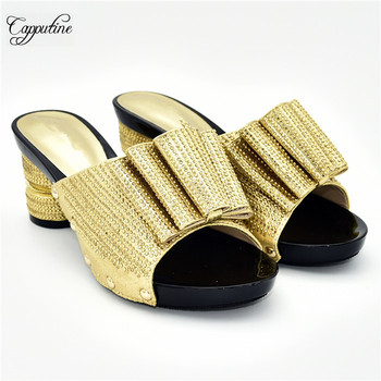 Amazing party gold shoes latest high heel slippers shoes for lady 288-5 Heel height 7cm,5 color