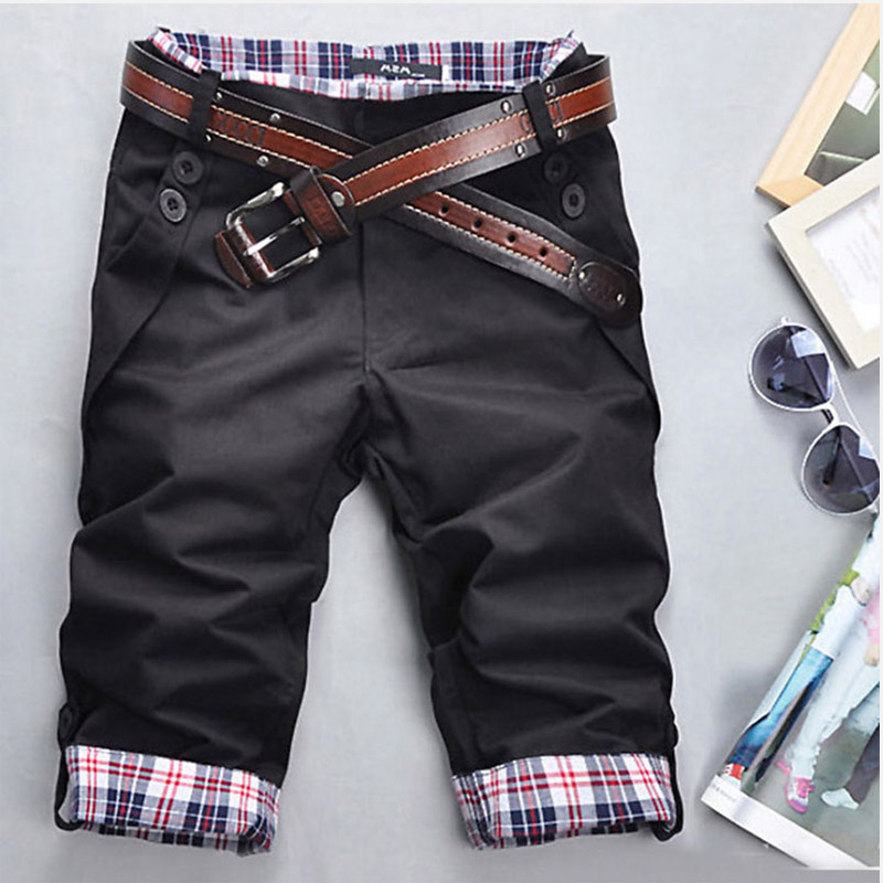 Plaid Patchwork Pocket Cropped Men Trousers Korean Style Casual Male Pants 2019 Summer Casual Men's Short Trouser