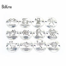 BoYuTe (12 Pieces/Set) 23*23MM Metal Alloy Round Bracelet Zodiac Signs Diy Zodiac Charms Connector Jewelry Accessories цена