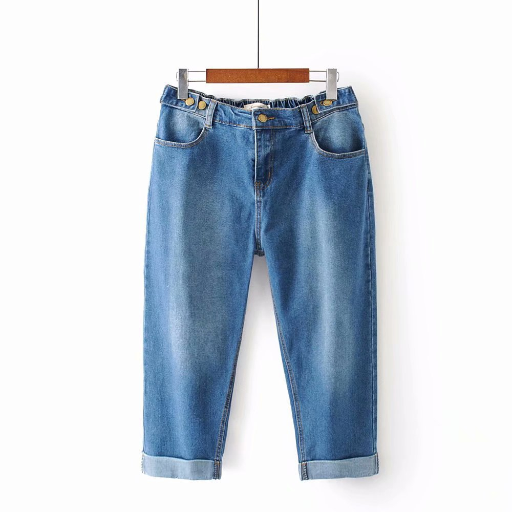 Plus Size Korean Style Women Jeans Elastic Stretch Cropped Jeans 7/10 Trousers