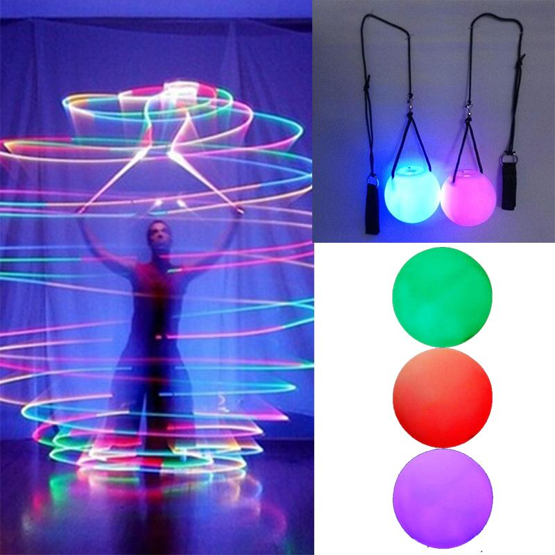 1Pcs Belly Dance Balls LED RGB Glow POI Thrown Balls Light Up For Belly Dance Level Hand Props Outdoor Tool