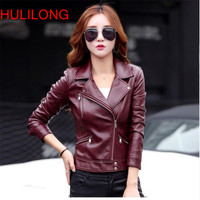 Hot Sale Motorcycle Leather Jacket Red Women S Clothing Xs Xl Outerwear Casual Turn Down Collar