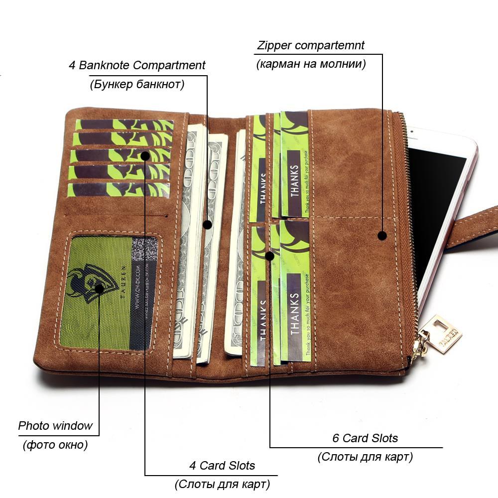 2018 New Fashion Women Wallets Drawstring Nubuck Leather Zipper Wallet Women's Long Design Purse Two Fold More Color Clutch 2