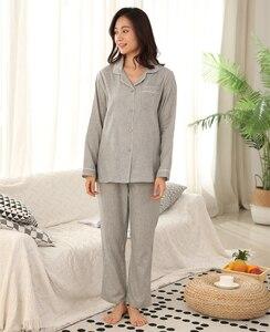 Image 3 - Hot sale Yarn dyed 100% cotton Couples pajamas sets women and men sleepwear long sleeve Fresh soft exquisite pyjamas women