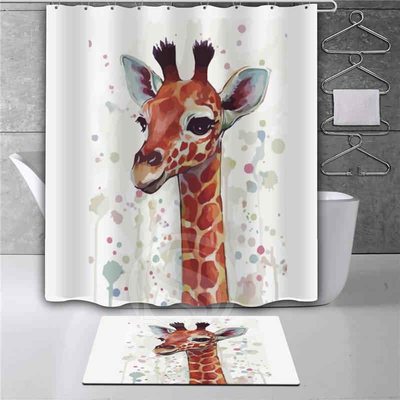 Captivating Y30# Watercolor Giraffe Bathroom Waterproof Shower Curtain + Watercolor  Giraffe Doormat Mat Bath Mats Foot Pad Free Shipping In Shower Curtains  From Home ...