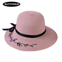 MATTYDOLIE Embroidered Straw Hat Bow Flower Sun Summer Ladies Outdoor Sunscreen Wide Side Beach Sand Visor