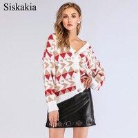 Siskakia V Neck Long Sleeve Single Breasted Design Women Knitted Tops Plus Size Sweater Outerwear White Female Autumn Fall 2018