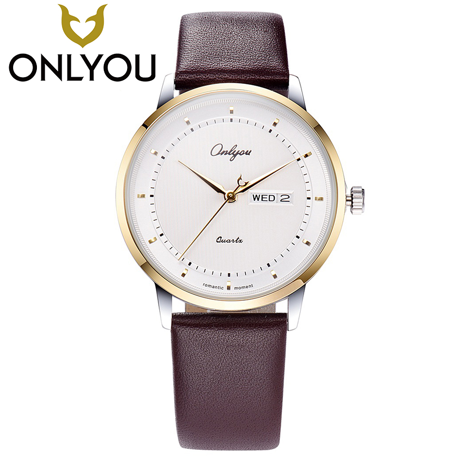 ONLYOU 2017 New Lovers Dress Watches 30M Waterproof Genuine Leather Strap Fashion Quartz Watch Men  Simple Wristwatch Women basid 2017 new arrival quartz watch couple lovers wristwatch casual fashion genuine leather watches men women sports relogio