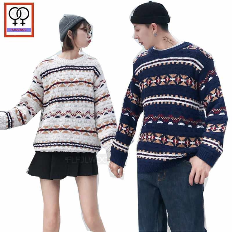 8e99e7e4ee Winter Pullovers Sweaters Preppy Style Valentine s Day Date Couple Clothes  Lovers Printed Knitted Matching Couple Sweaters