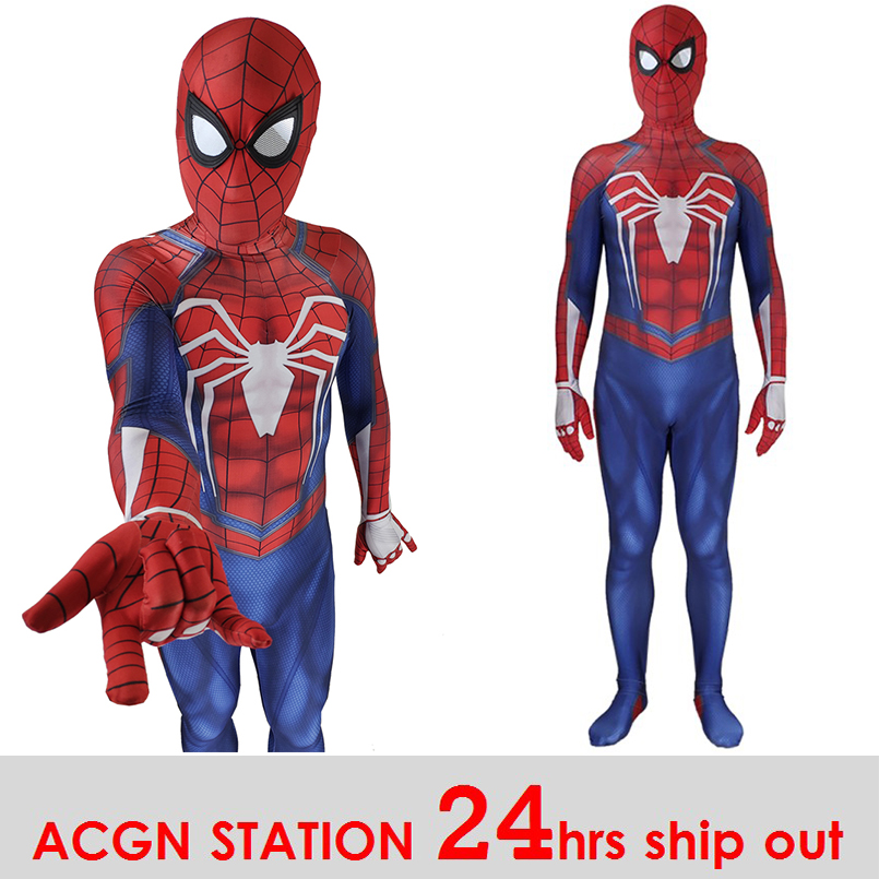 PS4 Spiderman Cosplay Costume 3D Print Avengers Spiderman Anime Full Bodysuit for Halloween party boy costummes back to school