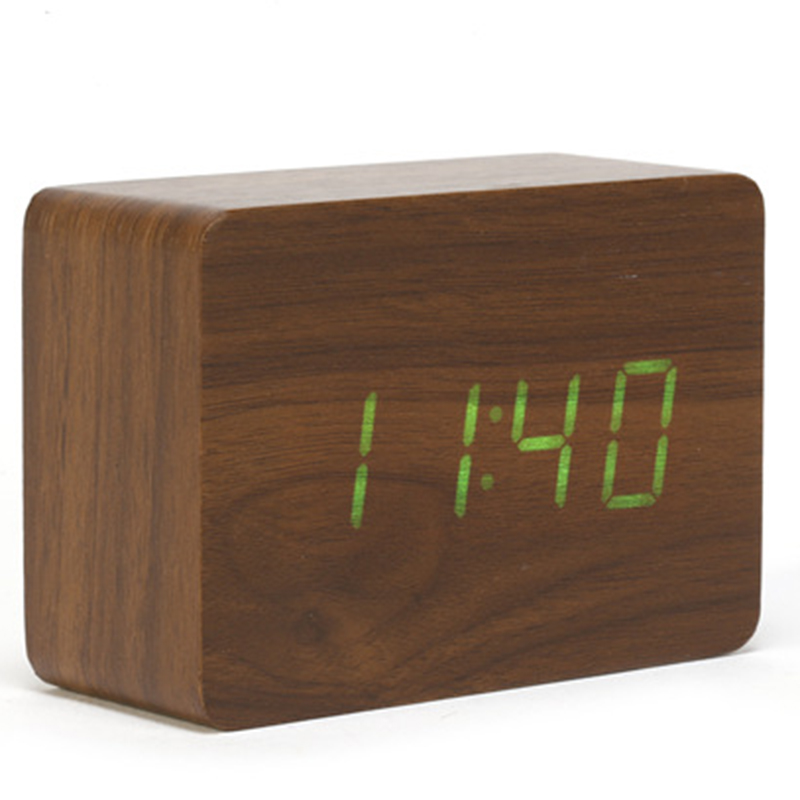 wood led small table clock electronic desk clock digital. Black Bedroom Furniture Sets. Home Design Ideas