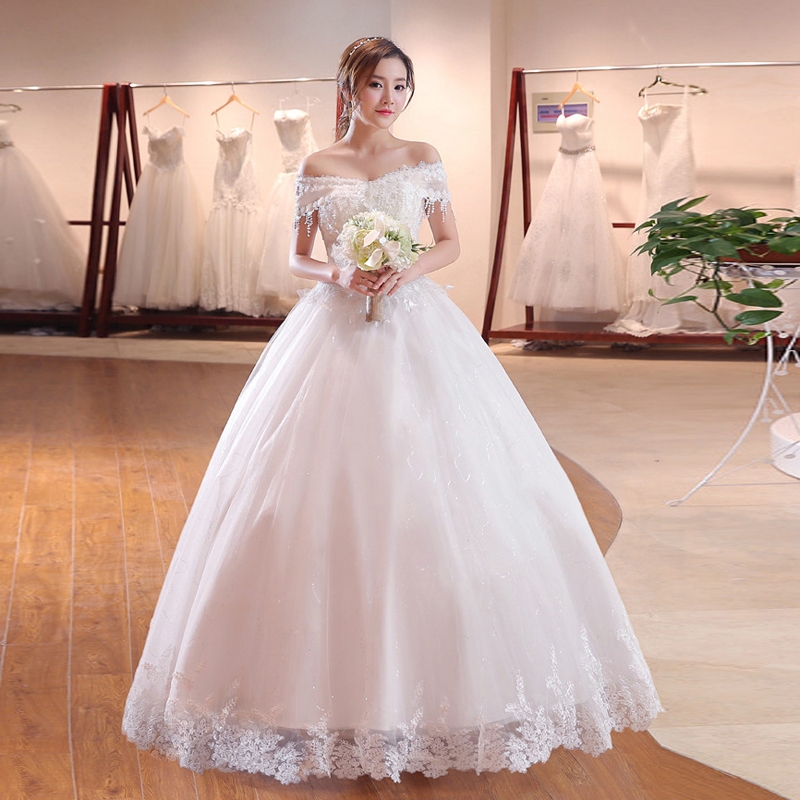 New Boat neck Princess Wedding Dress 2019 High quality woman dress Lace Beading Tassel Celebrity Ball Gown vestido De Noiva