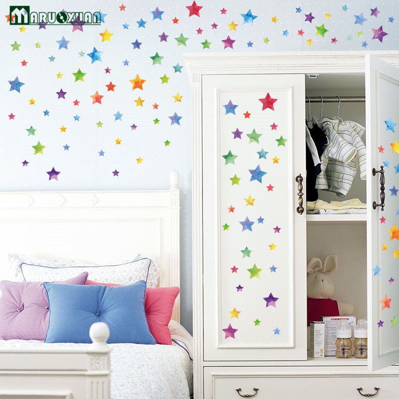 Maruoxuan Colorful Stars Stickers Kids Room Bedside Cabinets Bathroom Glass Decorative Stickers PVC Waterproof Wall Stickers ...