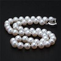 100% реальные искусственный круглый пресноводный жемчуг Цепочки и ожерелья, 9 10 мм белый Цвет жемчуга, свадебные женские подарок