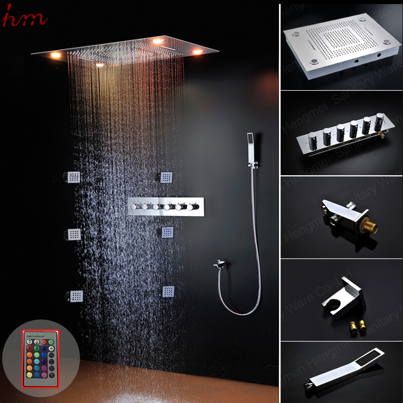 luxury 304sus led color changing dual rain shower heads set bathing suite waterfall curtain massage shower faucets