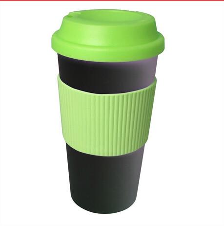 double wall plastic tumblers bpa free ceramic coffee mug with silicone wall insulated travel mug