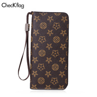 Checkflag Women Wallet Fashion Zipper High capacity Card Holder Female Purse Clutch Wallets PU leather Long Luxury Handbags