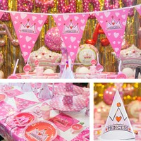 Birthday Party Decoration Supplies 90pcs Tableware Disposable Table Cover Plate Cup Napkin Utensil Banner Party DIY Decoration
