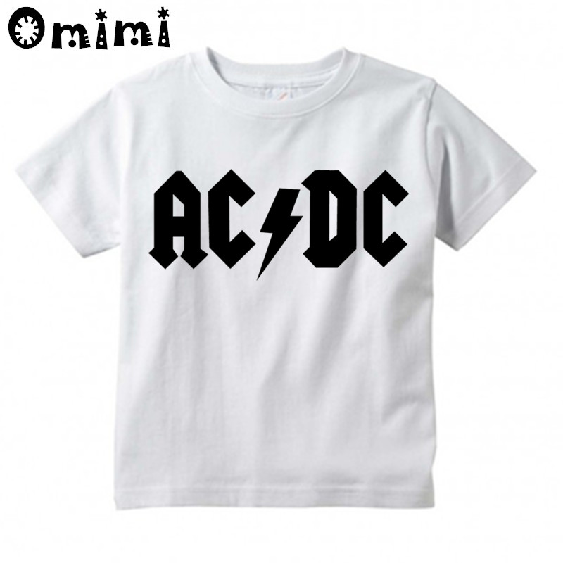 Kids Hip Hop Graphic AC/DC Rock Design T Shirt Boys/Girls Great Casual Short Sleeve Tops Children's Summer White Cute T-Shirt