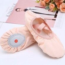 Женская балетная танцевальная обувь из хлопка с эластичной лентой; классические женские парусиновые тапочки с раздельной подошвой