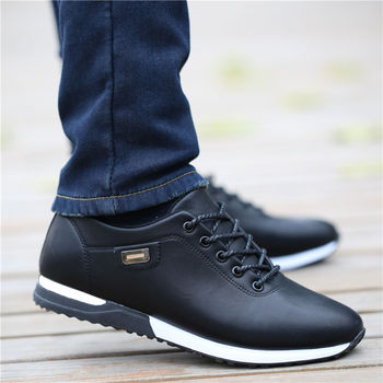Men's PU Leather Business Casual Shoes for Man Outdoor Breathable Sneakers Male Fashion Loafers Walking Footwear Tenis Feminino 1