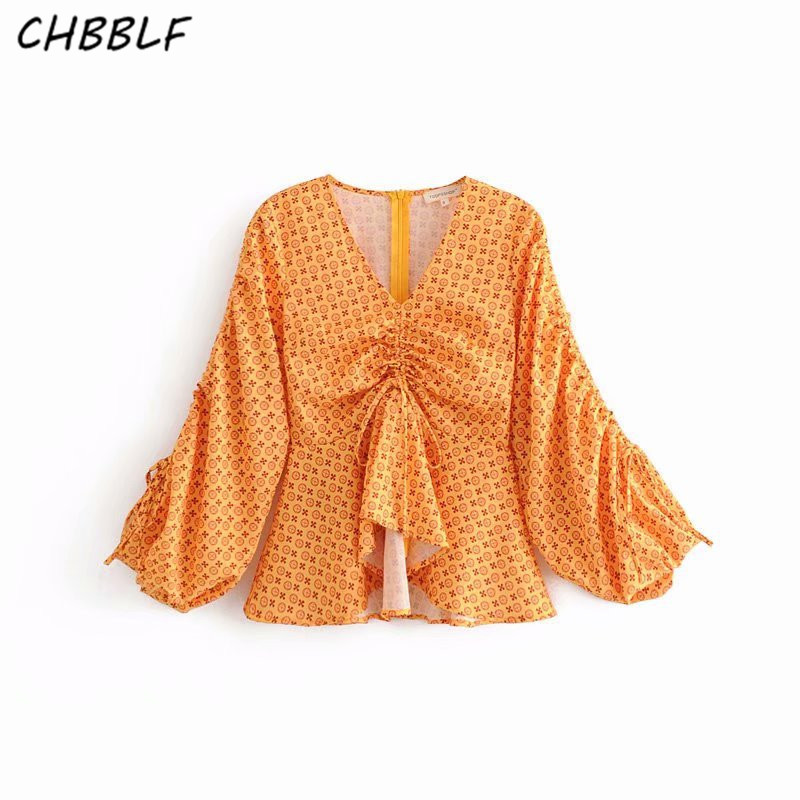 CHBBLF sweet print V neck blouse bow tie pleated design puff sleeve shirts female cute s ...
