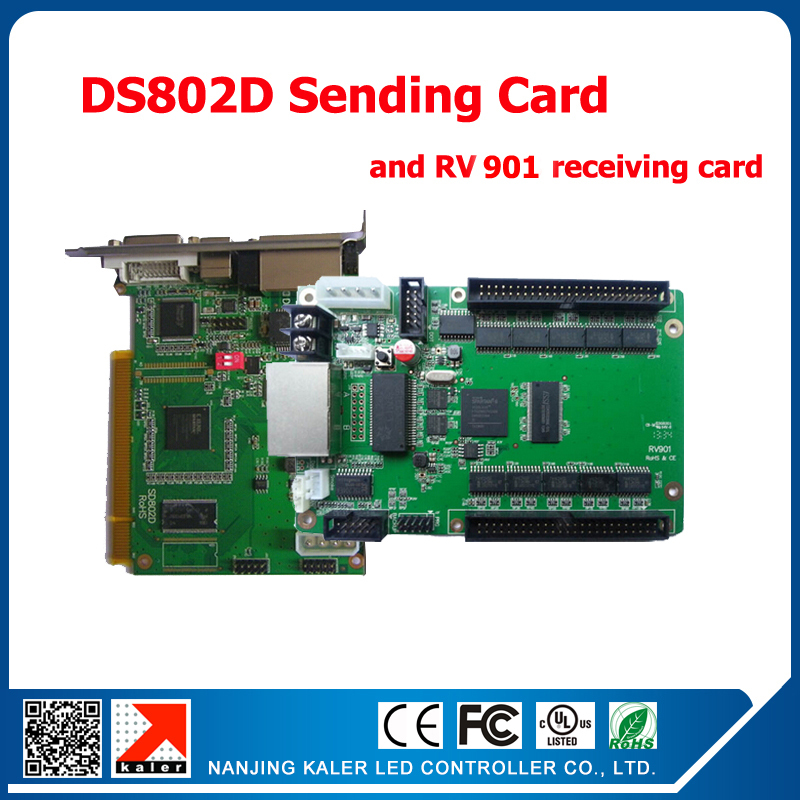 Dual Color Led Modules Display Control Card DS802 Sending Card +1pcs RV901 Receiving Card Synchronous Led Display Control Card