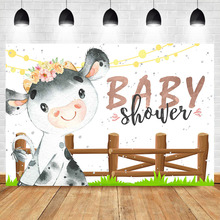NeoBack Cow Baby Shower Backdrop Girl Backdrops Photography Farm Animal Floral Background
