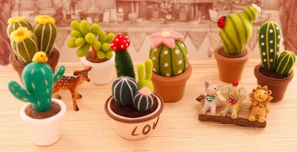 Succulent tanaman kartun hewan set wol dekorasi kerajinan sulaman kit wol merasa jarum felting needlecraft DIY handmade