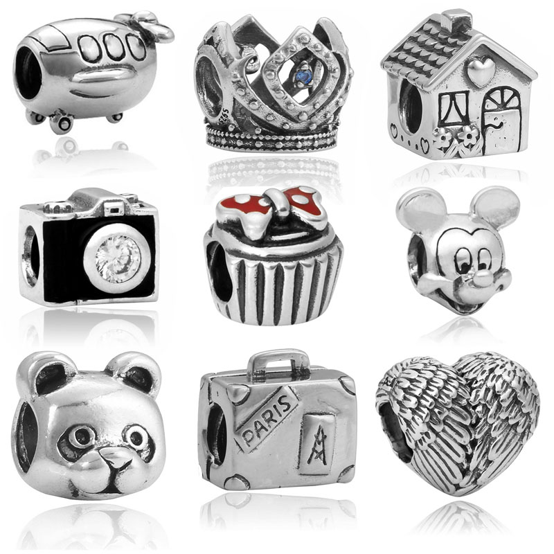 High Quality Enamel With Crystal Camera Charms Beads Fits DIY Style Pandora Charms Bracelets For Women