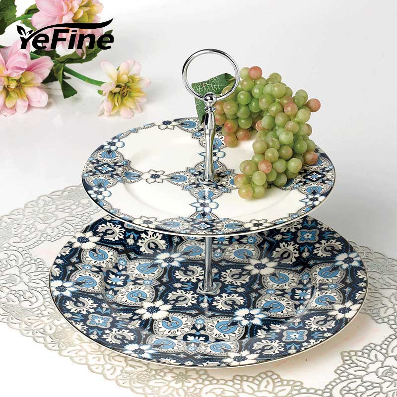 YeFine Platinum Ceramic 2 Layer Pastry Tray Fruit Stand Holder Bone China Candy Cake Dishes Stainless