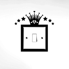 princess light switch surround wall sticker decal home decor black 4ws0116