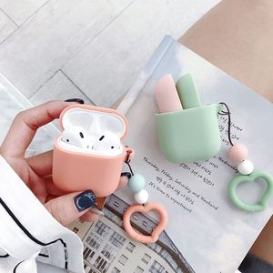 Contrast Candy Color Case Cover For Airpods Earphone Cases Love Straps Soft Silicone shell Headphone Cover For Air Pods(China)