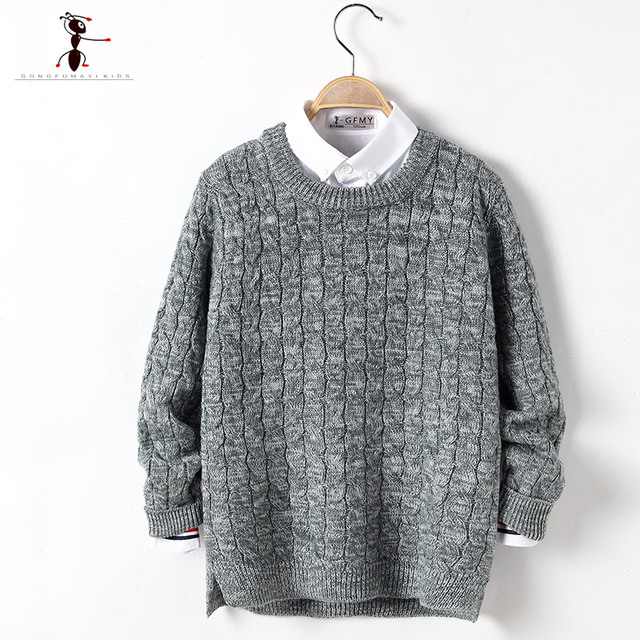 2016 Brand Boys Solid Gray Casual Spring Autumn Sweaters Kids Choses  Roupas Infantis Menino Enfant Knitted 2486