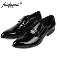 RUIMOSI Elegant Man Dress Shoes Patent Leather Loafers Italian Designer Brand Pointed Men S Handmade Wedding