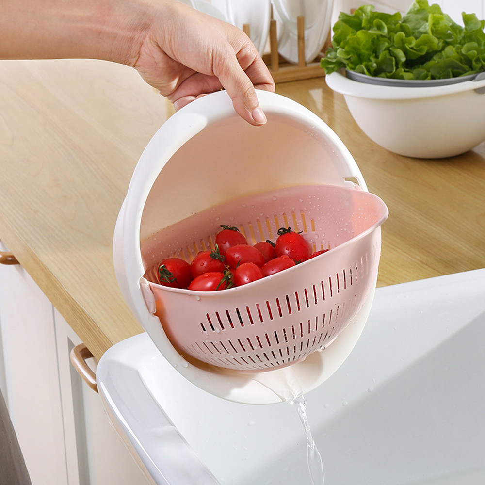 Bowl Noodles Kitchen-Strainer Fruit Vegetables Double-Drain-Basket Washing Useful Gift