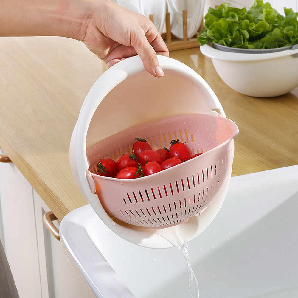 2019 Useful High Quality Fashion Double Drain Basket Bowl Washing Kitchen Strainer Noodles Vegetables fruit Gift DropshippingL*5