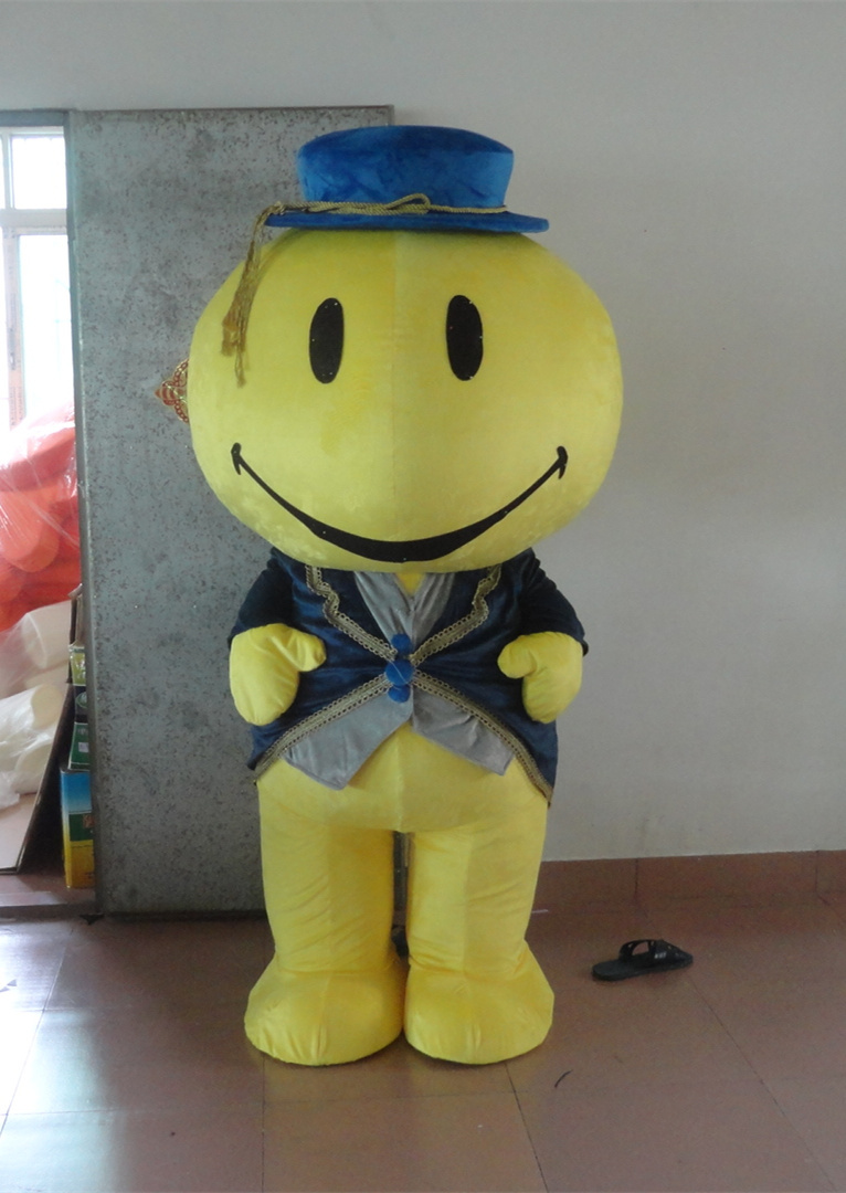 quality adult Yellow happy smile face mascot costume Festival loaded with clothing for Halloween party event